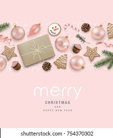 Christmas greeting card with cookies, ribbon, candy cane, Christmas ornaments, gift box, pine cones and fir branches