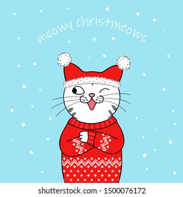 Christmas greeting card. Cute cartoon cat wearing a Santa Claus hat and knitted sweater. Hand drawn illustration