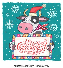 Christmas greeting card with cute cow