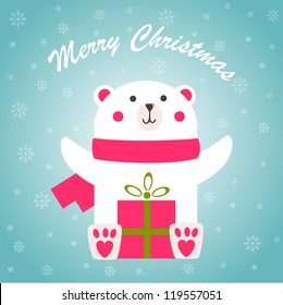 Christmas greeting card with cute polar bear