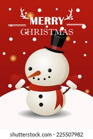 Christmas greeting card with cute snowman.