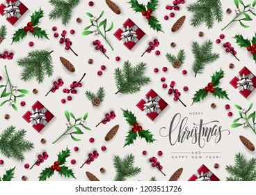 Christmas Greeting Card Decorated with Multiple Christmas Plants and Gift Boxes