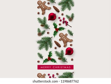 Christmas Greeting Card with Decorative Border made of Festive Elements