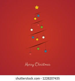 Christmas greeting card with decorative line Christmas tree with shadow. Merry Christmas and Happy New Year.