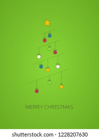 Christmas greeting card with decorative line Christmas tree. Merry Christmas and Happy New Year.