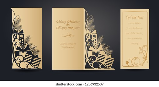 Christmas greeting card design for laser cutting. New Year's and Christmas. Openwork pattern for envelopes, postcards, invitations to New Year events. Cutting out of paper, cardboard, plastic. Vector