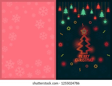 Christmas greeting card design with luminous Christmas ornaments placed on different backgrounds