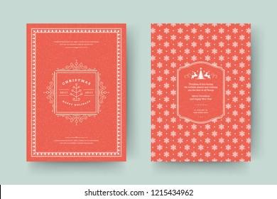 Christmas greeting card design template. Vector illustration.