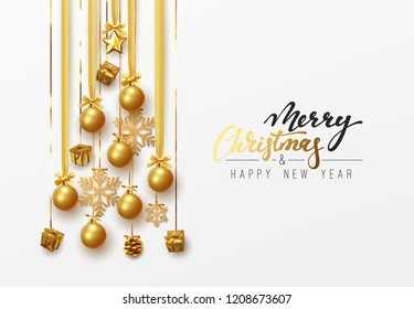 Christmas greeting card. Design of xmas decoration balls hanging on ribbon with golden gift box and snowflakes the shape of the pine tree. Merry Christmas and happy new year