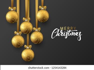 Christmas greeting card, design of xmas golden balls on dark background.