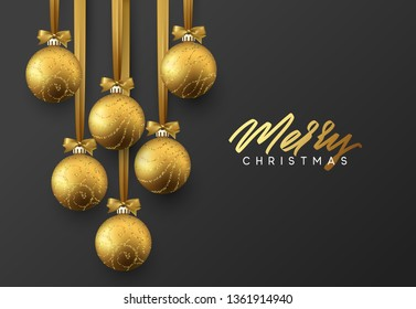 Christmas greeting card, design of xmas golden balls on dark background.