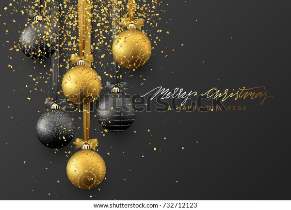 Christmas greeting card, design of xmas balls with golden glitter confetti on dark background.