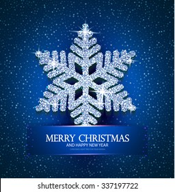 Christmas Greeting Card with Diamond Shining Snowflake. Elegant Winter Design.  Vector illustration
