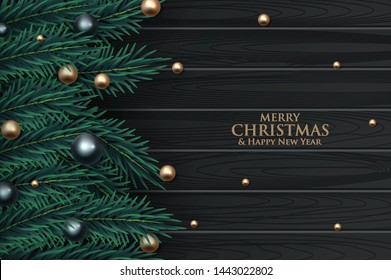 Christmas greeting card with fir branches decorated with ribbons, red and gold balls and berries. Wood texture background. Vector illustration
