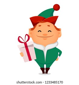 Christmas greeting card. Funny Santa Claus helper elf. Cheerful cartoon character holds gift box. Vector illustration on white background