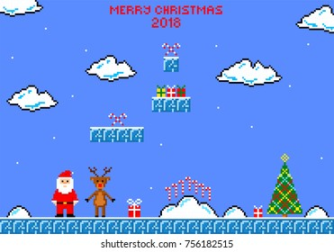 Christmas greeting card. Christmas game. Santa Claus, reindeer Rudolph and Christmas tree in style of eight-bit game. Inscription of  Merry Christmas 2018.  Vector illustration.