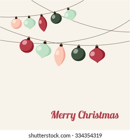 Christmas greeting card with garland of christmas balls, vector illustration background