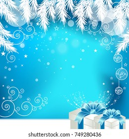 Christmas Greeting Card with Gift Box. Vector, illustration eps10