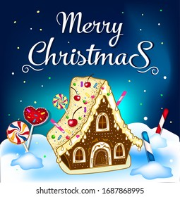 Christmas greeting card. Gingerbread house