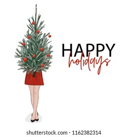 Christmas greeting card: girl holding New Year tree decorated with balls. Vector woman stylish outfit on holidays. Fashion magazine  sketch illustration