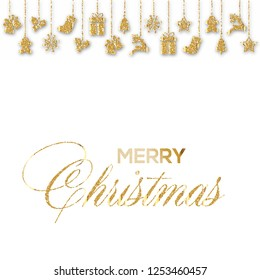 Christmas greeting card with gold ornaments. Vector