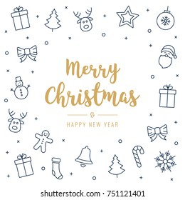christmas greeting card golden text icon elements white background