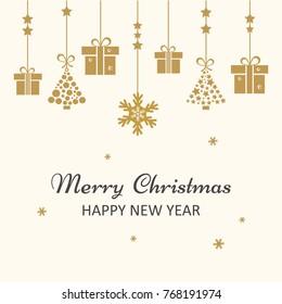 Christmas greeting card. Golden Christmas toys hanging. Vector illustration