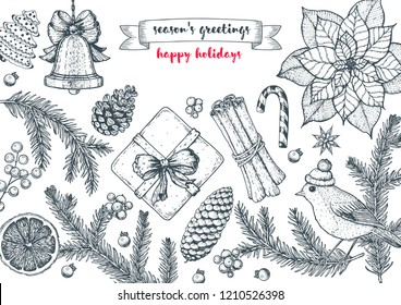 Christmas greeting card. Hand drawn sketch. Vector illustration. Christmas invitation design template. Sketch collection.