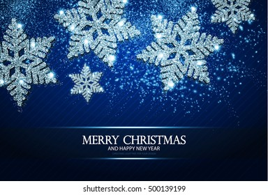 Christmas Greeting Card and Happy New Year Invitation with Shining Silver Snowflakes and Stars on Blue Striped Abstract Background. Vector illustration
