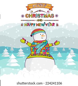 Christmas greeting card. Happy snowman in nature. Hand drawn vector illustration