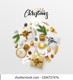 Christmas greeting card with holiday objects. Merry Christmas and happy new year. Background with gift box and balls design. Postcard with clocks, candles and fir branches. Xmas decoration elements.