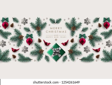 Christmas Greeting Card with Horizontal Decorative Border made of realistic pine branches, glass birds and Christmas ornaments, gift box and glitter snowflakes.