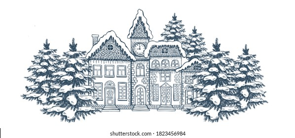 Christmas Greeting card. Illustration of houses. Set of hand drawn buildings.