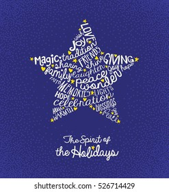 Christmas greeting card with inspiring handwritten words in star shape