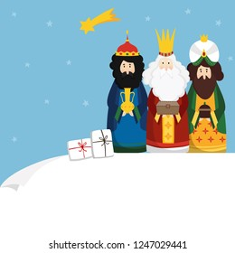 Christmas greeting card, invitation. Three magi bringing gifts and falling star. Biblical kings Caspar, Melchior, Balthazar and comet. Flat design, vector illustration background. Blank paper bannner.