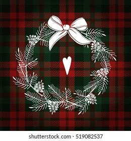 Christmas greeting card, invitation. White Christmas wreath made of pine branches and cones. Tartan checkered plaid, vector illustration background.