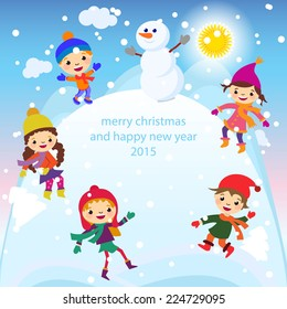 Christmas Greeting Card Kids, Snow and Snowman vector art