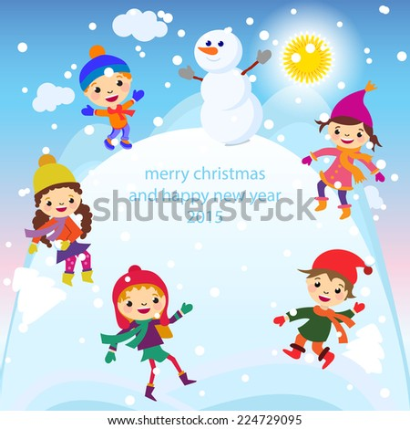 5a84738f0280 Christmas Greeting Card Kids Snow Snowman Stock Vector (Royalty Free ...