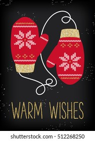 Christmas greeting card, knitted mittens background. Gold glitter texture. Mittens with gold and white scandinavian pattern. Warm wishes.