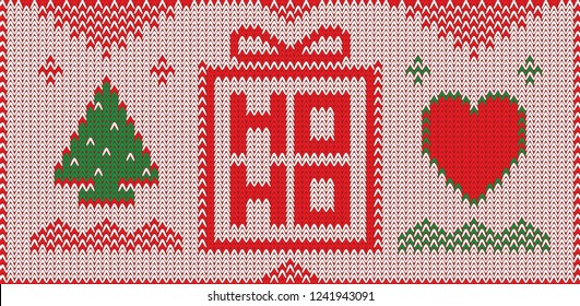 Christmas greeting card with knitted sweater pattern. Cozy New Year banner design. Xmas vector illustration with knitted new year tree, heart and gift box.