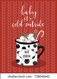Christmas Greeting Card with lettering and cacao in the mug. Merry holidays calligraphy. Template for New 2018 Year Cards, Scrapbooking, Stickers, Planner, Invitations.