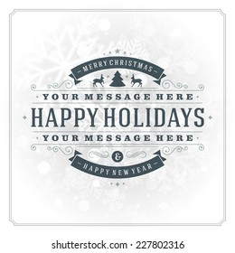 Christmas greeting card light and snowflakes vector background. Merry Christmas holidays wish design and vintage ornament decoration. Happy new year message. Vector illustration.