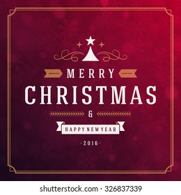 Christmas greeting card lights and snowflakes vector background. Merry Christmas holidays wish design and vintage ornament decoration. Happy new year message. Vector illustration.