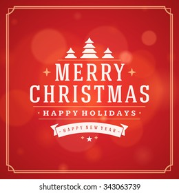 Christmas greeting card lights vector background. Merry Christmas holidays wish message typography design and decorations. Vector illustration.