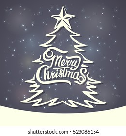 Christmas Greeting Card. Merry Christmas lettering. Vector illustration