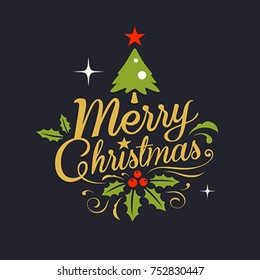 Christmas Greeting Card. Merry Christmas lettering design on black background, vector illustration