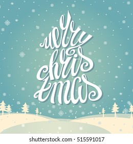 Christmas greeting card merry christmas handwriting stock christmas greeting card merry christmas vector handwritting lettering vintage cyan snowflakes background with white m4hsunfo