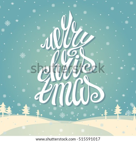 Christmas greeting card merry christmas vector stock vector royalty christmas greeting card merry christmas vector handwritting lettering vintage cyan snowflakes background with white m4hsunfo