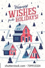 Christmas greeting card. Mid century style. Vector illustration.