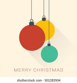 Christmas greeting card. Minimalistic christmas baubles. Flat design.